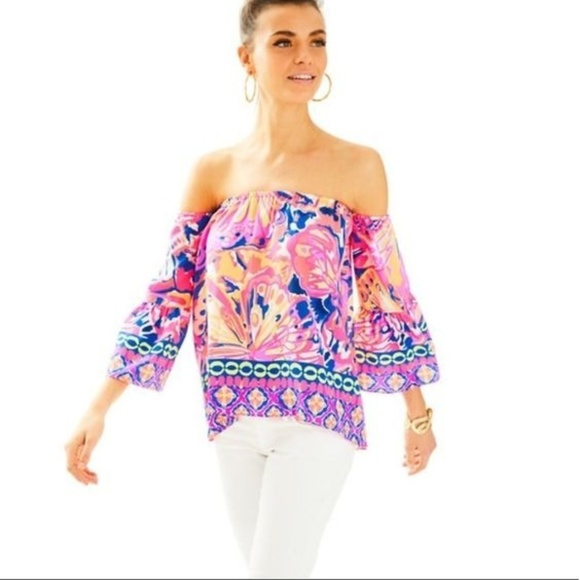 Lilly Pulitzer Tops - Lilly Pulitzer SANILLA OFF THE SHOULDER SILK TOP